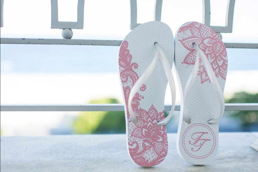 rasteirinha branca e rosa personalizada