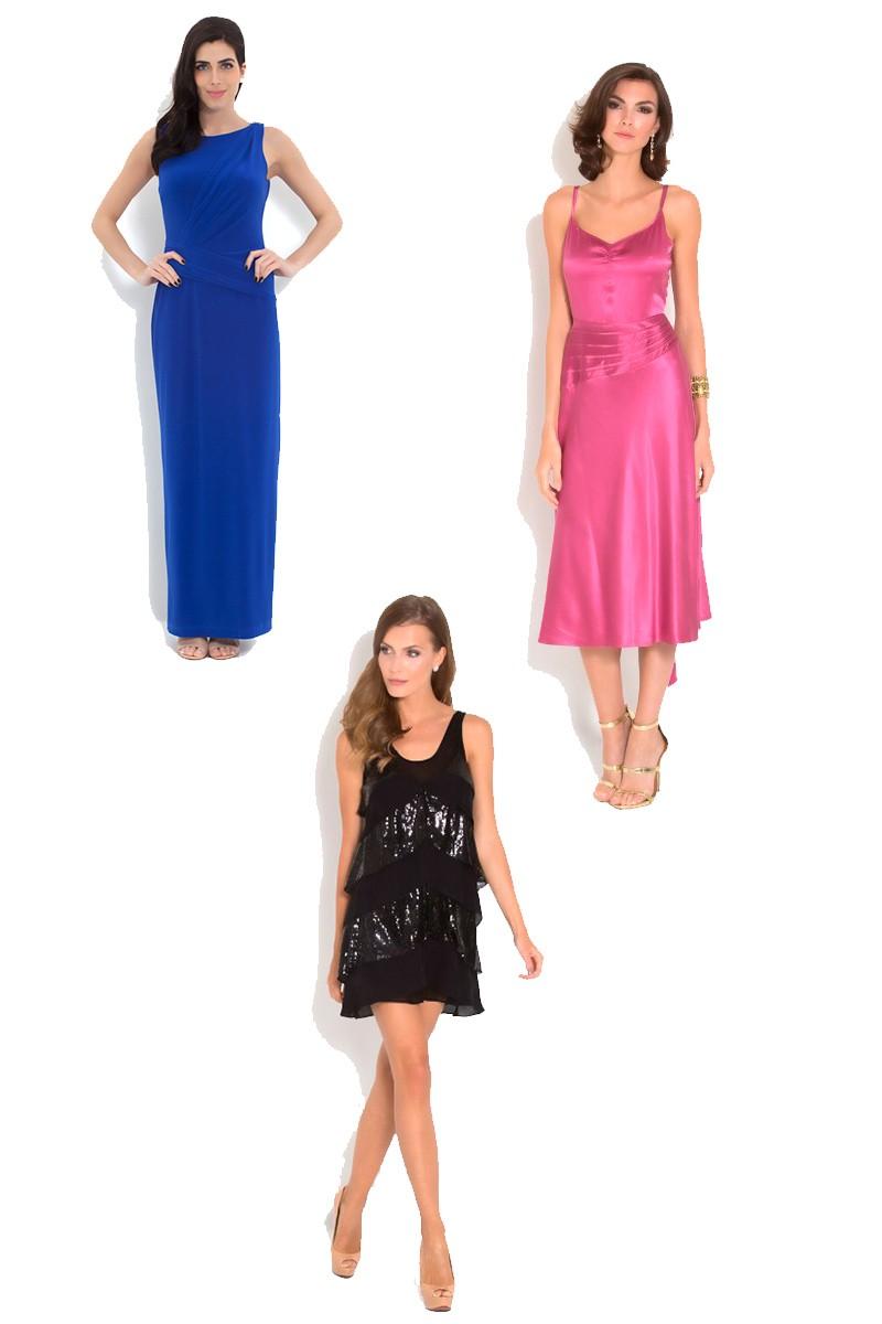 Vestidos de festa em diferentes cores: azul, preto, rosa.
