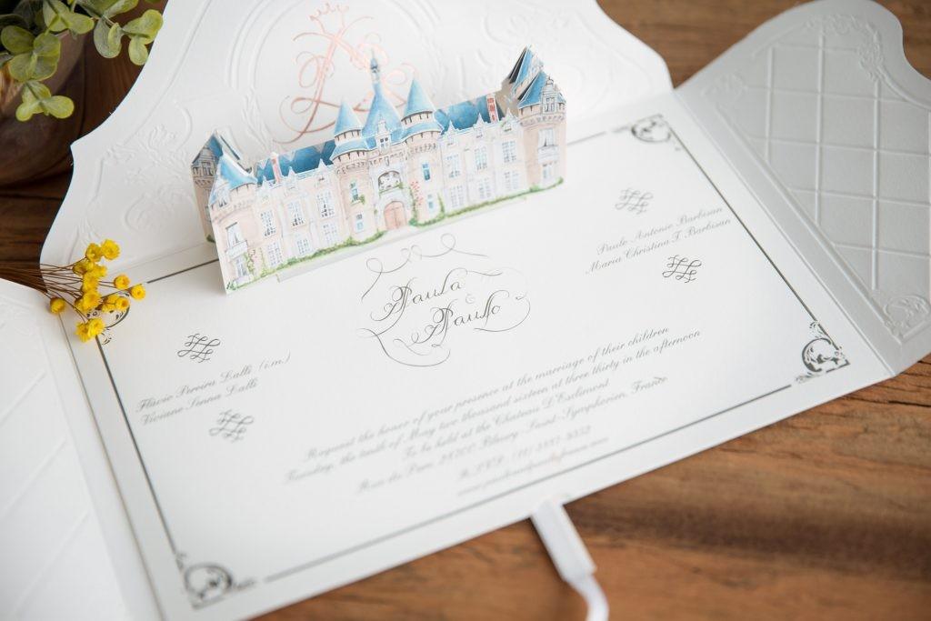 Convite 3D da RA Paper com castelo.