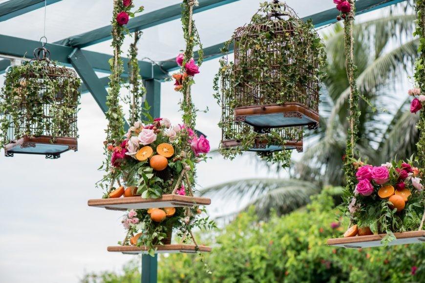 decoração suspensa com frutas