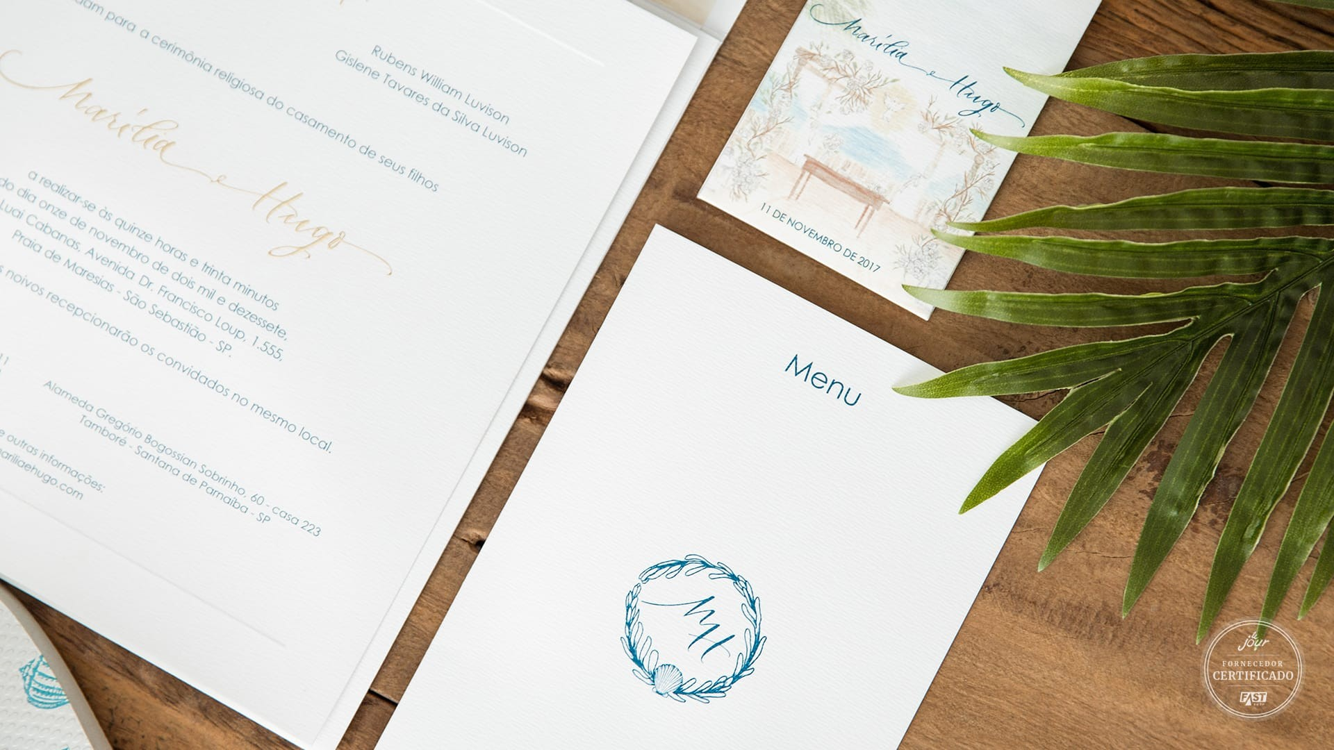 Papelaria completa para casamento: convite, save the date, cardápio.