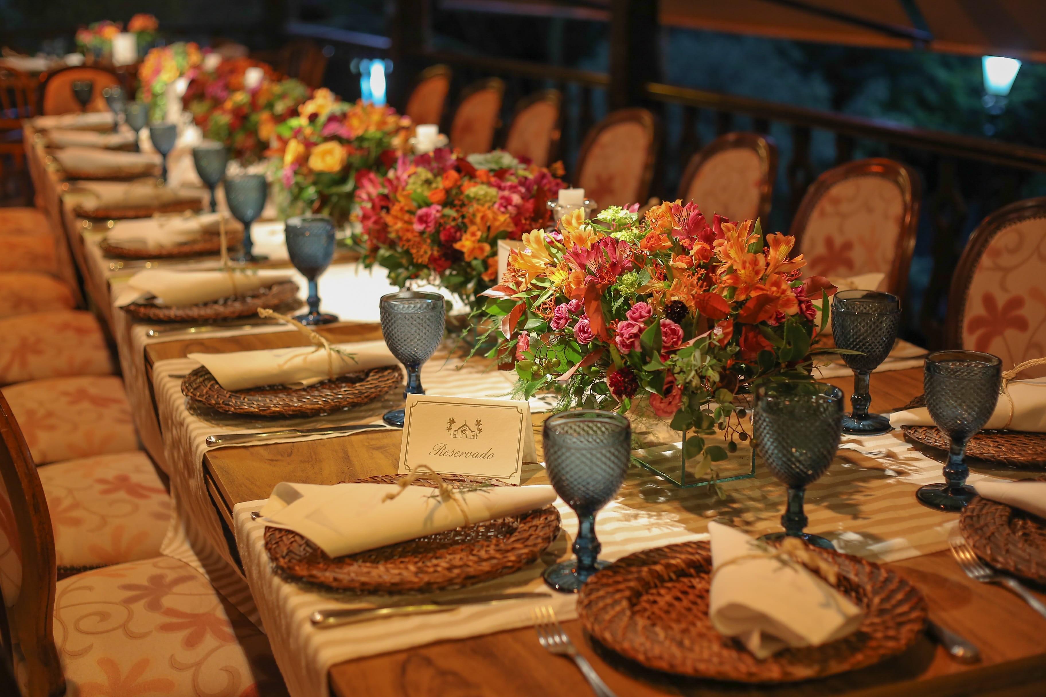 centros de mesa de um casamento