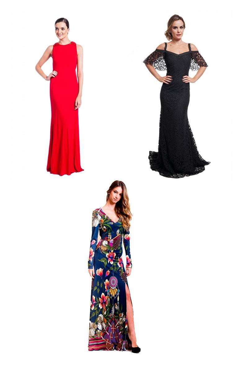 Vestidos de festa em diferentes cores: vermelho, preto e florido.