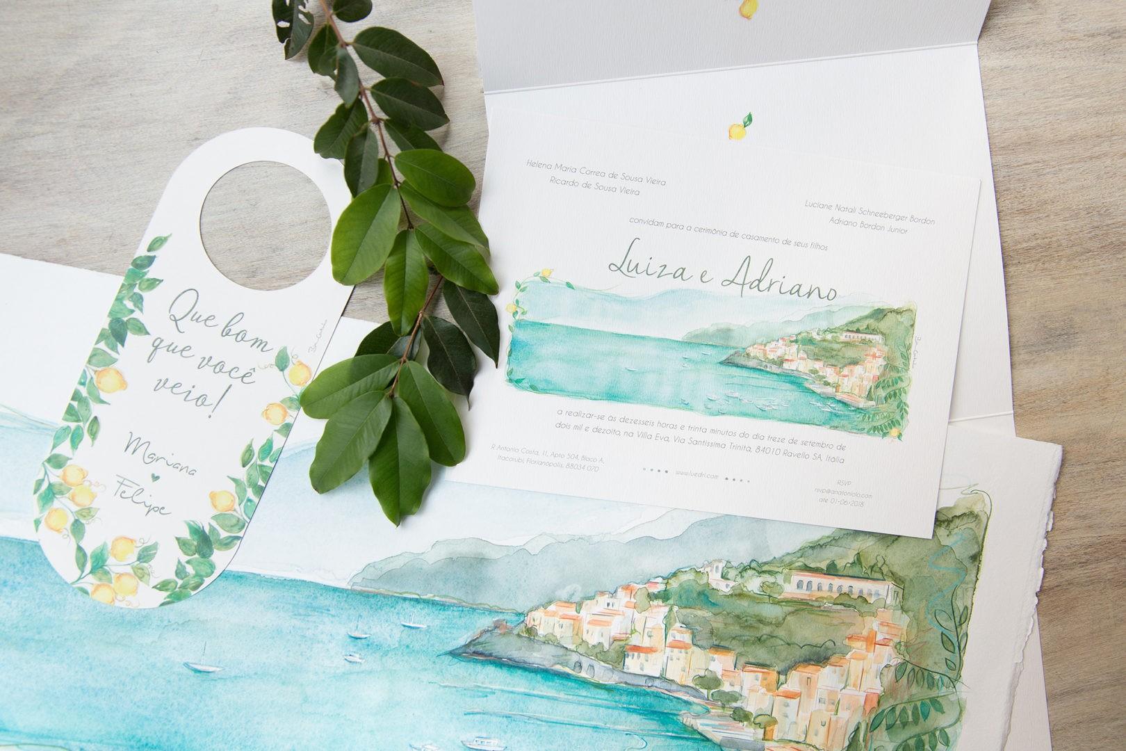 convite e papelaria aquartelada personalizada para casamento