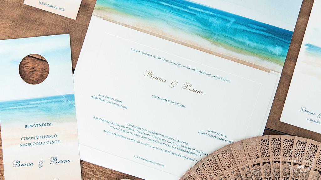 Convite personalizado para casamento na praia da Petit Souvenir