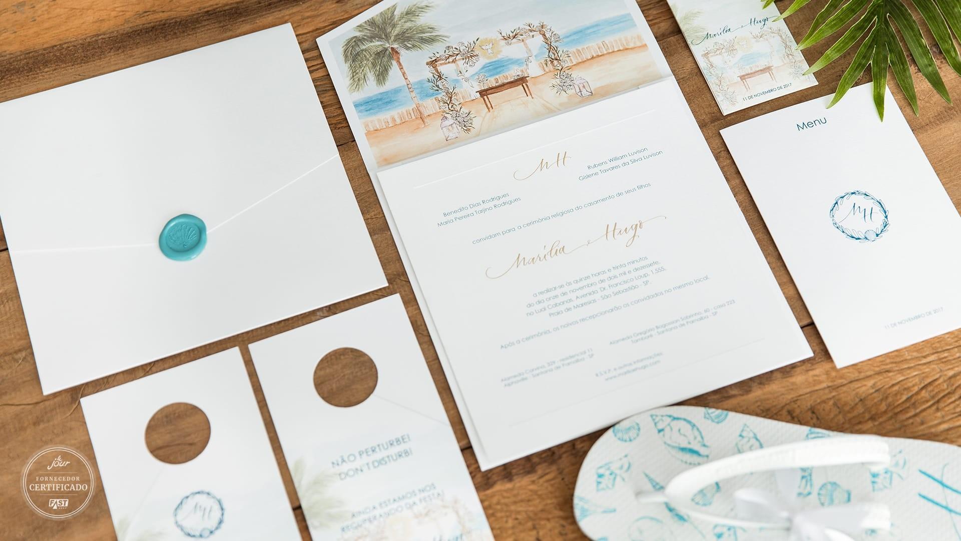 Papelaria completa para casamento na praia.