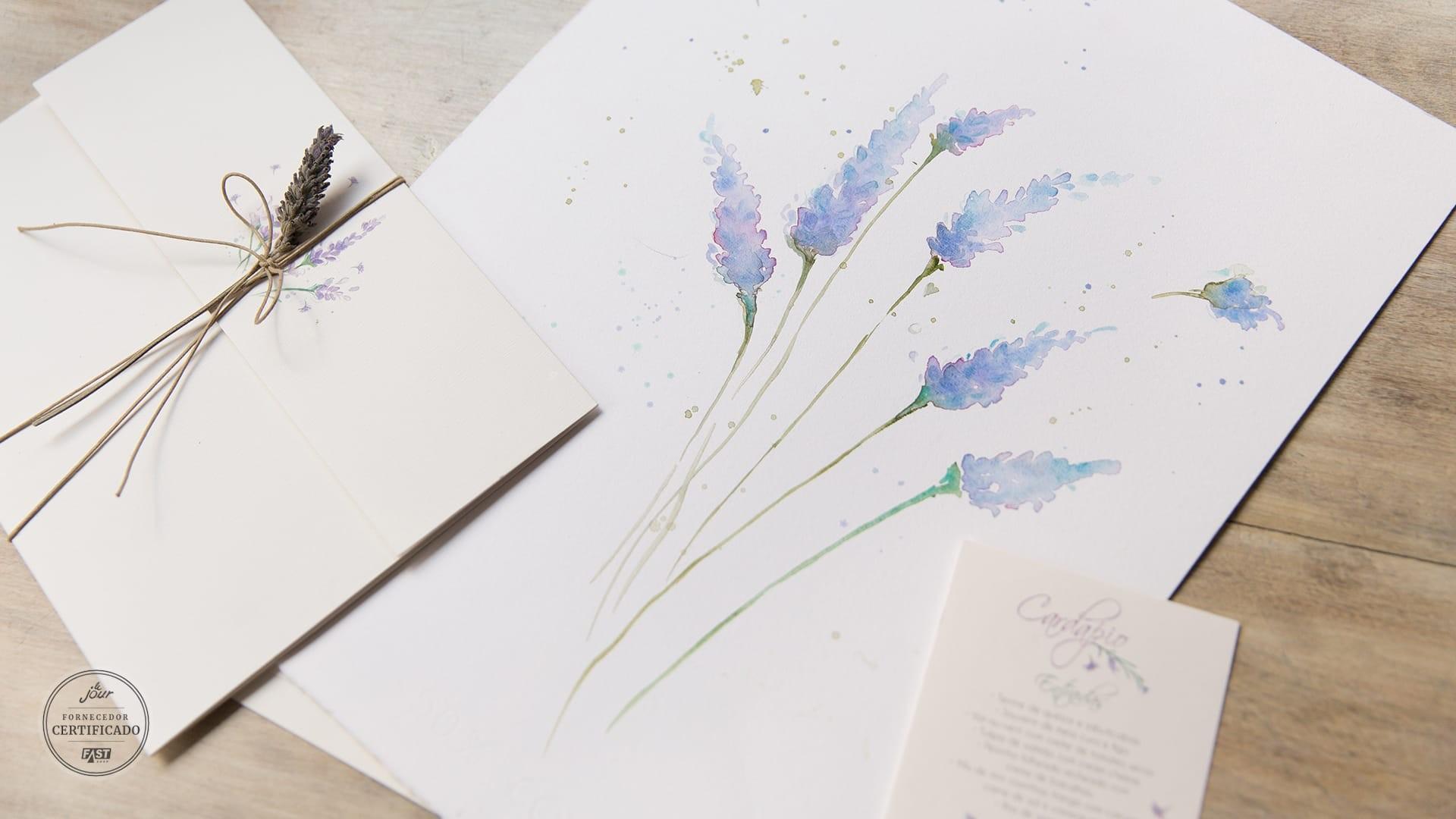 Convites da Bia Coutinho, modelo aquarelado, casamento no campo.