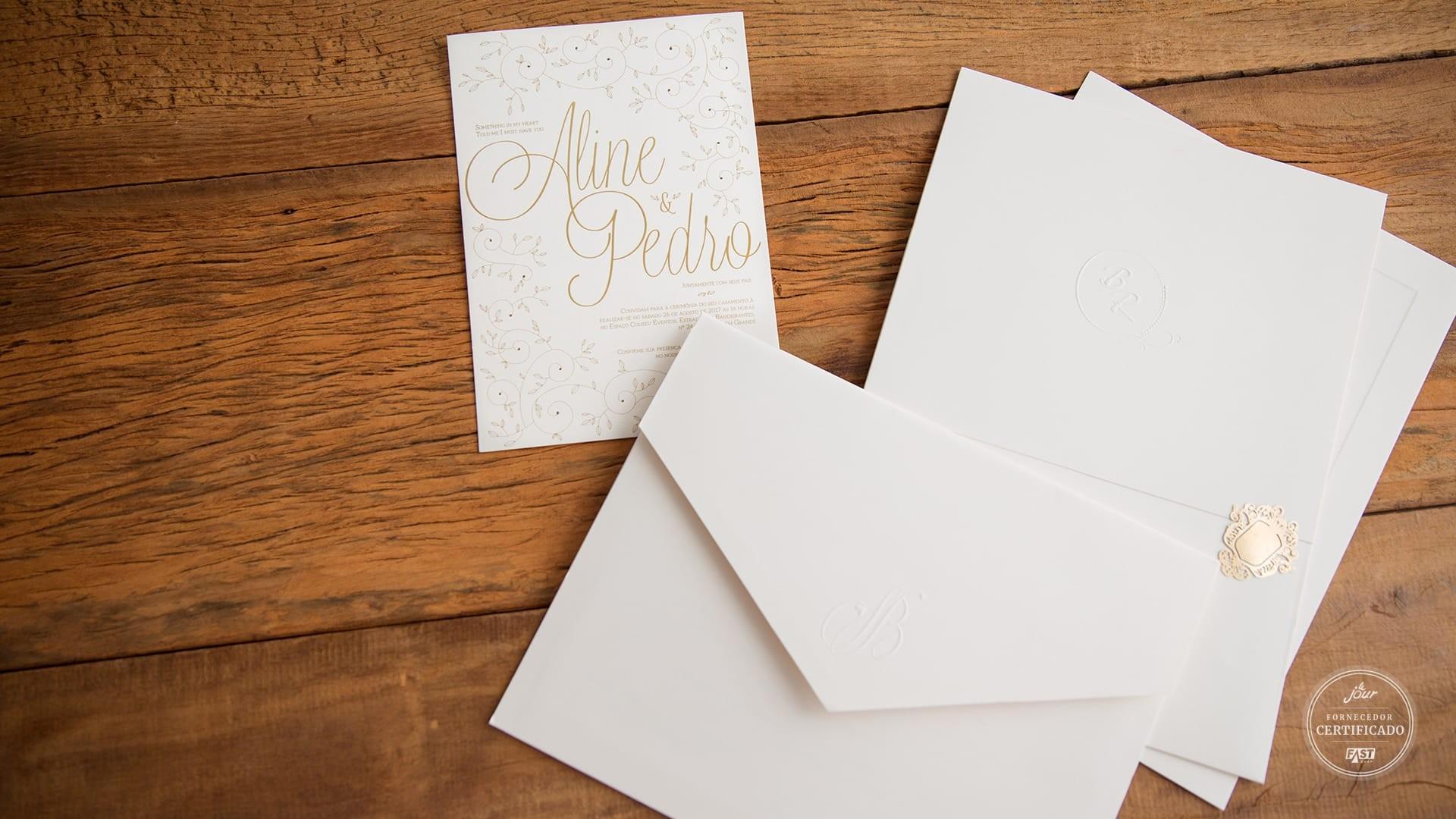 Papelaria completa para casamento: convite, envelope, save the date.