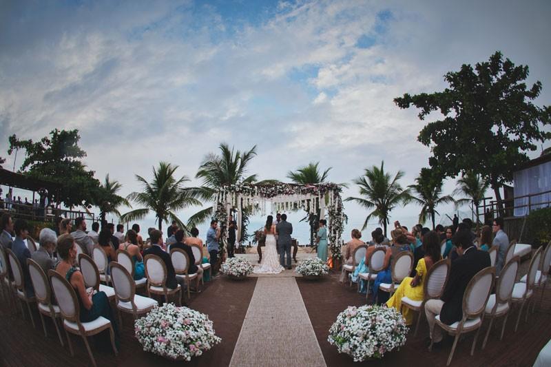 Cerimônia de casamento da praia.
