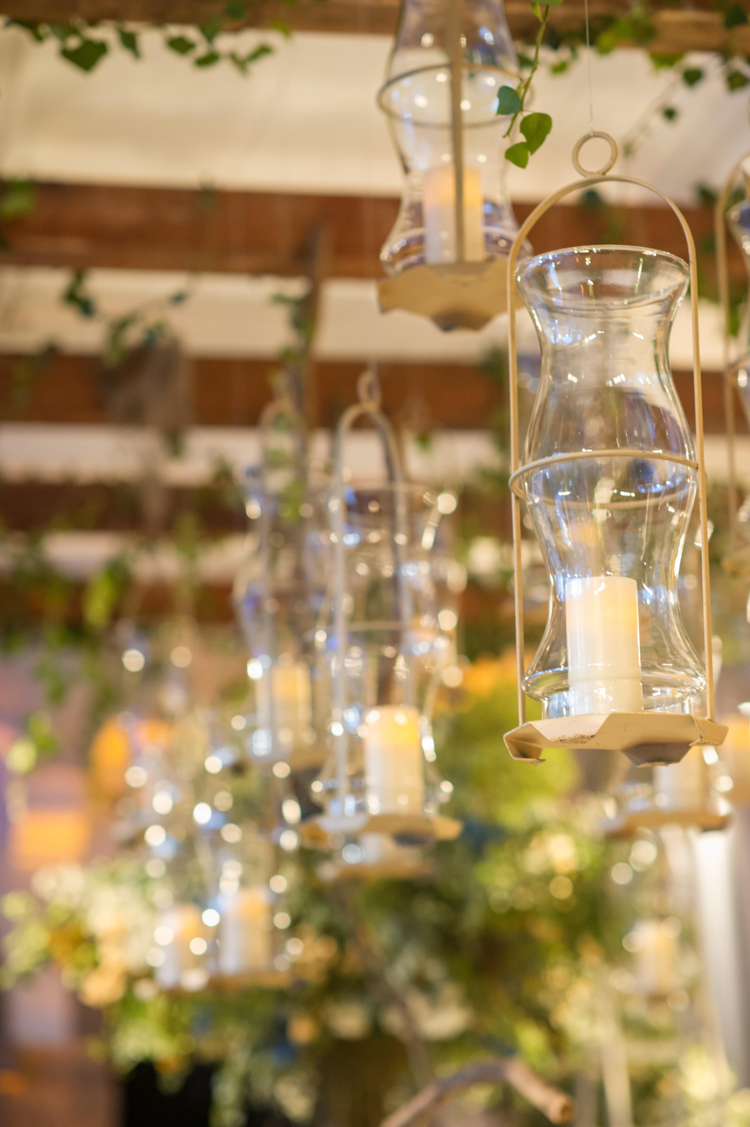 decoração suspensa com velas